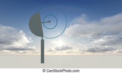 rotating Radio telescope - animation of rotating Radio...