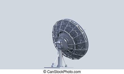 rotating radio telescope, loop-able 3d animation with alpha-matte