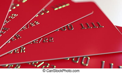 Rotating red credit cards, loopable motion background