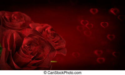 rotating red rose with heart particles - 3D render. seamless loop
