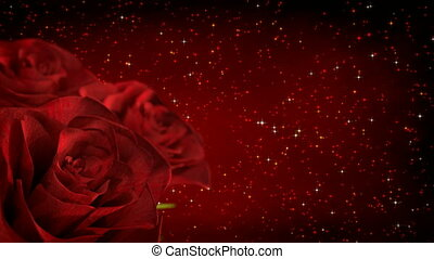 rotating red roses with glitter particles - 3D render. seamless loop