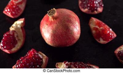 Rotating ripe red garnet closeup. - Rotating ripe red garnet...