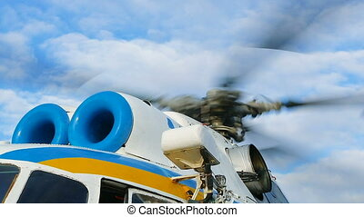 Military helicopter rotor blade detail close up - Rotating...