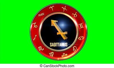 Rotating SAGITTARIUS western Zodiac Symbol