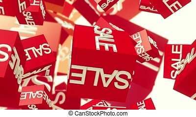 Rotating sale cubes in red