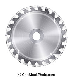Rotating saw - Rotating metal blade of circular saw on white...