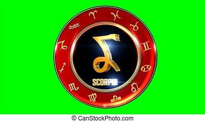 Rotating SCORPIO western Zodiac Symbol