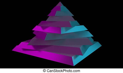 Rotating sliced pyramid. 3D graphics, level, geometry, hierarchy or mystery concepts. 4K seamless loop motion background