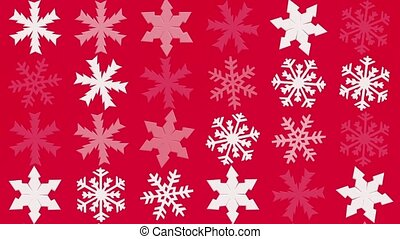 Rotating snowflakes in white on red