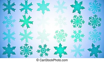 Rotating snowflakes on blue
