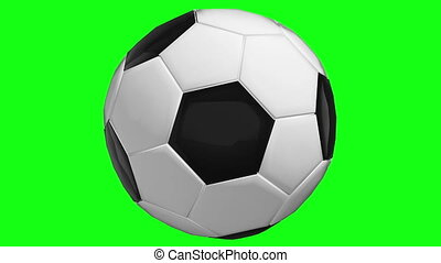 Rotating soccer ball on green screen