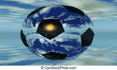 Rotating soccer ball reflecting clouds