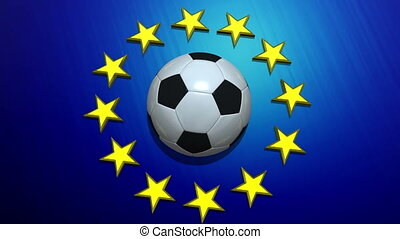 Rotating soccer ball on European Union flag