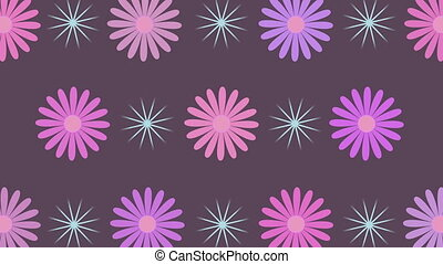 Rotating sparkles and flowers, 4K - Abstract rotating...