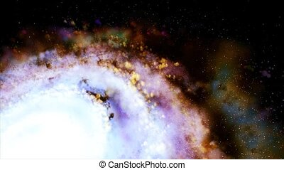 Rotating spiral galaxy. Slow rotation of the galaxy 16. -...
