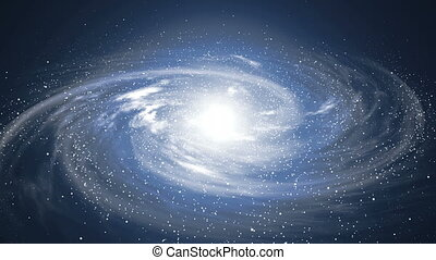 A beautiful space scene with a rotating galaxy