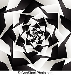 Rotating spiral grayscale geometric background - Abstract pattern