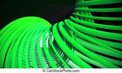 Rotating spirals in green on black