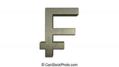 Rotating Swiss Franc Symbol Gold, 3D Looped Animation, Golden Swiss Franc Sign Isolated On White Background, CHF Currency Of Switzerland And Liechtenstein - DCi 4K