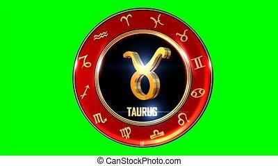 Rotating TAURUS western Zodiac Symbol