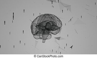 Rotating the human brain against the background of plexus and exclamation marks. Network connection on white background. Abstract brain. Loop animation.