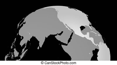 Rotating Earth Globe Map. Detailed view of northern hemisphere. Light gray lands, transparent seas and oceans. Slow Motion.