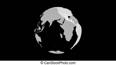 Rotating Earth Globe Map. Light gray lands, transparent seas and oceans. Slow Motion.