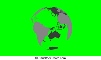 Rotating transparent Earth planet globe in grey. Spinning 3D object on green screen background. 4K footage looping