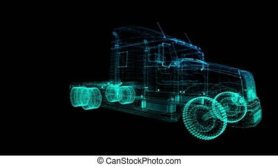Rotating Truck. Black and blue shine Formation of Model Big...