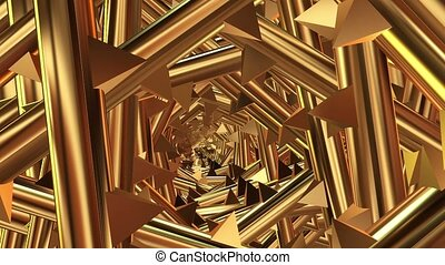 Rotating tunnel with spikes in golden color