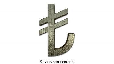 Turkish Lira Symbol - Rotating Turkish Lira Symbol Gold, 3D...