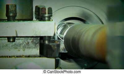 Rotating Turning Lathe In Process. Archival record. -...