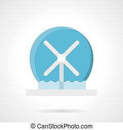 Rotating water fountain flat color vector icon