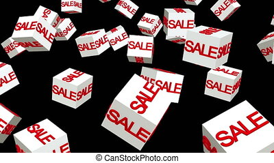 Rotating white cubes with sale concept on black background