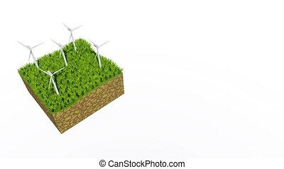 Rotating wind turbine 3D animation with copy space