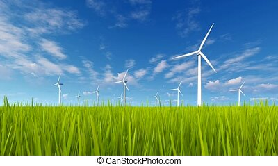 Rotating wind turbines and green grass 4K - Rotating wind...