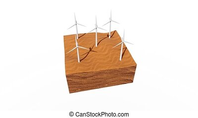 Rotating wind turbines in a desert 3D animation