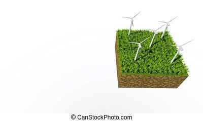 Rotating wind turbines loopable 3D animation