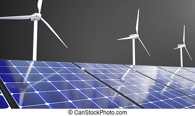 Rotating windmills and solar panels, 3d rendering, computer generating for ecology design