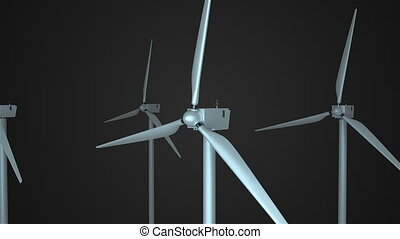 Rotating windmills in space, 3d render background, computer generating for ecology design