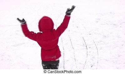 rotating woman on snow - Rotating woman on snow