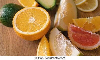 Rotating wooden background with fruits