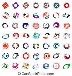 rotation, éléments, conception, spirale