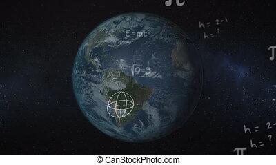 rotation, équations, animation, flotter, sur, symboles, ...