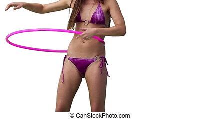 rotation, bikini, cerceau, femme, hula, rose