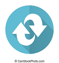 rotation blue flat icon refresh sign