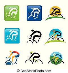 rotation, buttons., cyclisme, icônes