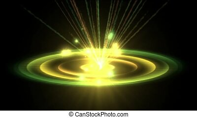 rotation circle energy field launch rays laser light & particles, nimbus in space.