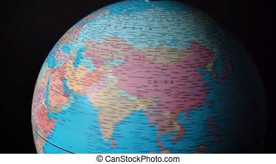 rotation, continents, autour de, pays, sphère