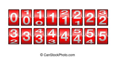 Countdown clock from 0 to 5 - red mechanical rotation counter display - time remaining animation